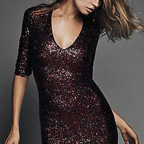 New Express 128 Red Lacquer v-Neck Sequin Mini Dress Sz 6 Photo