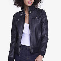 New Express 148 Black Minus the Leather Bomber Jacket Sz S Small Photo