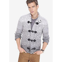 New Express 148 White & Gray Mock Neck Cable Toggle Cardigan Sz Xl Exra Large Photo