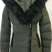 New Express198 Women Olive Green Down Filled Faux Fur Collar Coat Jacket Sz Xs  Photo