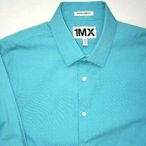 New Express 1mx Mens Medium Shirt Turquoise Blue Extra Slim Fit Long Sleeve M Photo