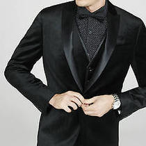New Express 248 Black Slim Photographer Velvet Blazer Jacket Sz 40r Photo