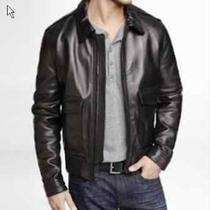 New Express 398 Mens Black Genuine Leather Bomber Jacket Sz M Medium Photo