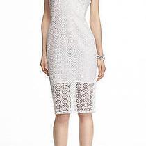 New Express 60 White Eyelet Midi Sheath Dress Sz Xs Photo