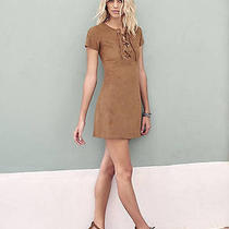 New Express 88 Boho Lace Up Faux Suede Retro Mini Dress Cognac Brown Size 6  Photo