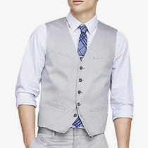 New Express 88 Light Gray Oxford Cloth Suit Vest Sz M Medium Photo