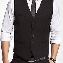 New Express 98 Black Stretch Wool Blend Suit Vest Sz S Small Photo