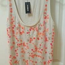 New Express Beige Orange Sequin Embellished Front Tank Sz Small 59 Nwt Photo