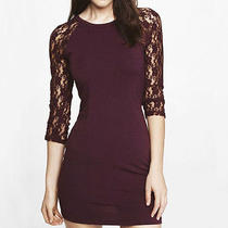 New Express Berry Lace Raglan Sleeve Dress Sz M Medium Photo