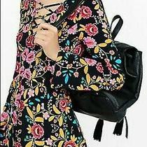 New Express Black Floral Bell Sleeve Criss Cross Romper Jumper Shortall Size 8 Photo