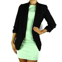 New Express Black Open Front 3/4 Ruched Sleeve Boyfriend Blazer Womens Small S Photo