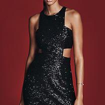 New Express Black Sequin Cut-Out Mini Dress Sz 6 Photo