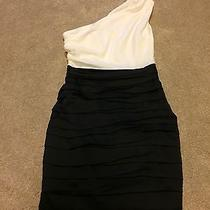 New Express Black White One Shoulder Ruched Dress Size 2 Photo
