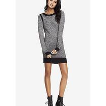 New Express Black & White Textured Stripe Sweater Dress Sz M Photo