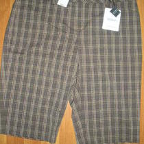 New Express Brown Plaid Bermuda Dress Shorts Sz 8 Editor City Short Photo