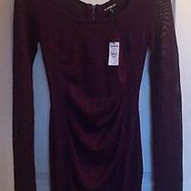 New Express Burgundy Glitter Ruched Sweater Dress With Fish Net Sleeves Size Xs Photo
