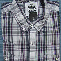 New Express Casual Plaid Fitted Dress Shirt L Nwt 60 (Checkered Slim Work) Photo