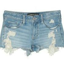 New Express Clothing Lace Denim Distressed Jean Shorts Festival Coachella Rave Photo