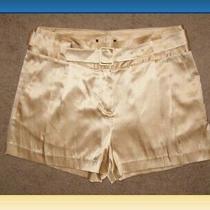 New Express Design Studio Silk Tan Gold Belted Dressy Shorts Sz 10 L Black Tie Photo