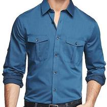 New Express Extra Slim Fit Chambray Military Shirt Nwt Size Xs 70 Last One Photo