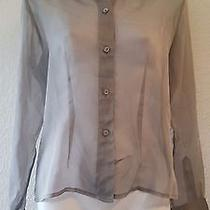 New Express Gray Collared Button Down Long Sleeve See Through Sheer Blouse 5/6 Photo