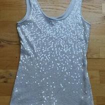 New Express Gray Sequin Sleeveless Cami Tank Top Shirt Blouse (M) Photo