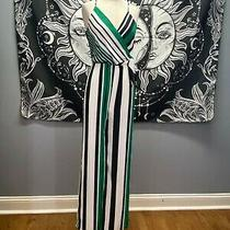 New Express Green Striped Surplice Tie Front Wide Leg Jumpsuit Sz Xs Photo