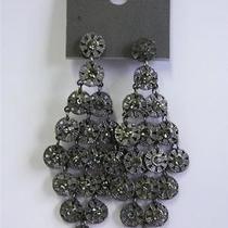 New Express Hematite Rhinestone Tier Dangling Earrings Photo