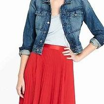 New Express Holiday Red Pleated Skirt High Waist Size 6 Gorgeous  Photo