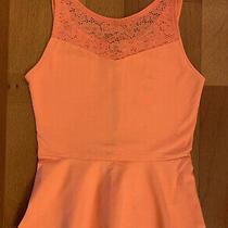 New Express Lace Peplum Coral Pink Tank Top Shirt Size Xs  Photo