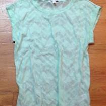 New Express Light Green Chevron Slub Knit Semi Sheer Knit Tee Top Tunic Xs Photo