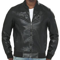 New Express Men's 198 Black Minus the Faux Leather Ribbed Bomber Jacket Sz M Photo