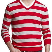 New Express Men's Cotton Rugby Stripe v-Neck Sweater Nwt Xl 70 Last One Photo