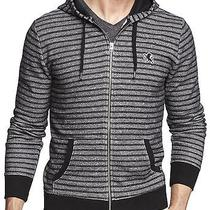 New Express Men's Marled Striped Lion Black Zip-Up Hoodie Sweater Nwt Xl 70 Photo
