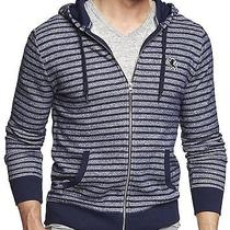 New Express Men's Marled Striped Lion Blue Zip-Up Hoodie Sweater Nwt L 70  Photo