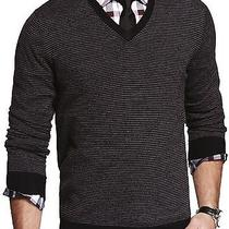 New Express Men's Merino Wool Black Striped v-Neck Sweater Nwt Size L 80 Photo