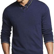 New Express Men's Merino Wool v-Neck Sweater Large Nwt 70 (Ribbed Soft) Photo
