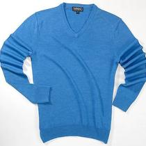 New Express Men's Small S Solid Light Blue Extra Fine Merino Wool v-Neck Sweater Photo