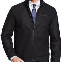 New Express Mens Black Water Resistant Zip-Up Wool Blend Jacket Coat Sz L Large Photo