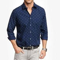 New Express Mens Fitted Navy Anchor Print Button Down Dress Shirt Size M 15-15.5 Photo