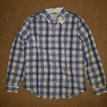 New Express Mens Sz L Blue Plaid Buttonup Shirt Blue White Large Long Sleeve Nwt Photo