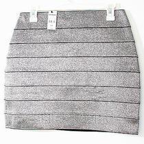 New Express Metallic Bandage Straight Mini Skirt Silver for Women M Photo