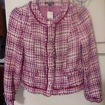 New Express Multi Mauves Acrylic Cotton Blend Lined Fringed Jacket Size 8 168 Photo