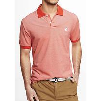 New Express Orange Oxford Small Lion Pique Polo Shirt Sz Xl Extra Large Tall Photo
