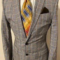 New Express Photographer 38r Fitted Brown Gray Blue Plaid Cotton Blazer Jacket Photo