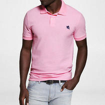 New Express Pink  Fitted Small Lion Pique Polo Sz Xl Photo