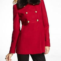New Express Red Faux Fur Trimed Retro Wool Blend Coat Sz L Large Photo