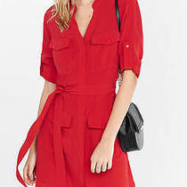 New Express Red Military Shirt Dress Sz S Small Photo