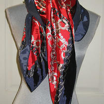 New Express Red Navy Blue White Neck Scarf Wrap Large Square Pearls Chains Nwot Photo