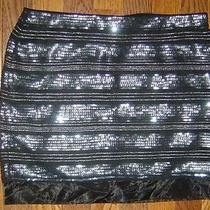 New Express Sequin Skirt Black and Silver Fully Lined Size 0   Photo